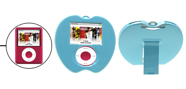 Sky Blue Apple Shape Hard Plastic Cover Case with Stand for iPod Nano 3rd Generation