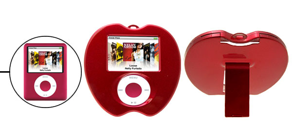 Unique Apple Shape Hard Plastic Cover Case with Stand for iPod Nano 3rd Generation Red