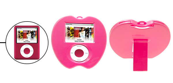 Unique Apple Shape Pink Plastic Hard Cover Case with Stand for iPod Nano 3rd Generation