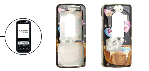 Cartoon Koala Pattern Black Plastic Case for Nokia N73