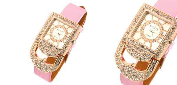 Fashion Jewelry Pink Band Rhinestones Padlock Women's Watch Golden Watchcase