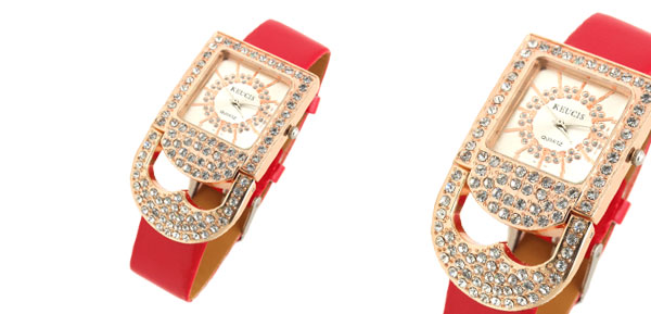 Fashion Jewelry Golden Watchcase Rhinestones Padlock Women's Watch Red Band