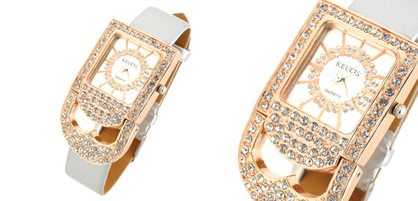 Fashion Jewelry Rhinestones Golden Padlock Women's Watch with Gray Band