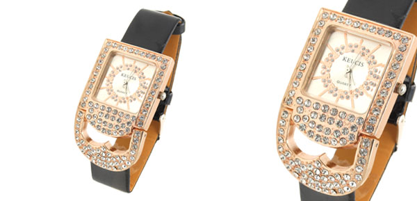 Fashion Jewelry Rhinestones Golden Padlock Shaped Women's Watch with Black Band
