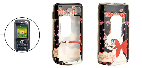 Black Aristo Cat Pattern Plastic Case for Nokia N70