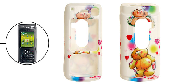 White Cartoon Bear Pattern Plastic Case for Nokia N70