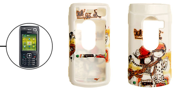 Cartoon Couple White Plastic Case for Nokia N70