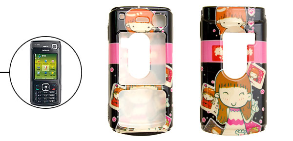 Black Smiling Girl Cartoon Plastic Case for Nokia N70