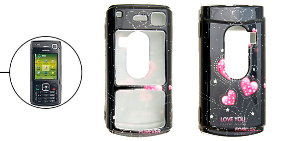 Black Classic Pink Heart Pattern Plastic Case for Nokia N70