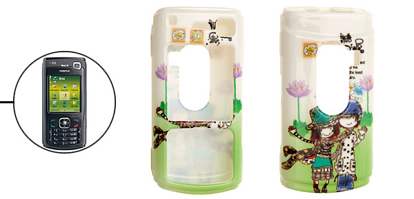 Green Cartoon Couple Pattern Plastic Case for Nokia N70