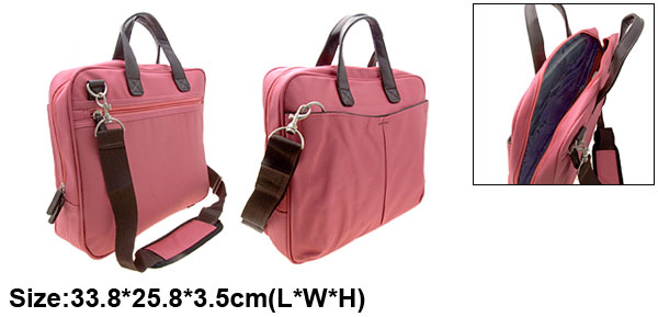 Pink 14.1 Inch Laptop Notebook Handbag Nylon Carrying Shoulder Bag