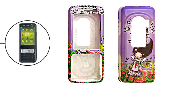 Purple Cartoon Girl Plastic Hard Case for Nokia N73