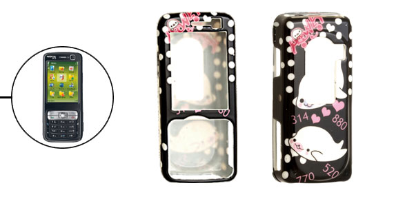 Cute Dolphin Cartoon Plastic Black Case for Nokia N73