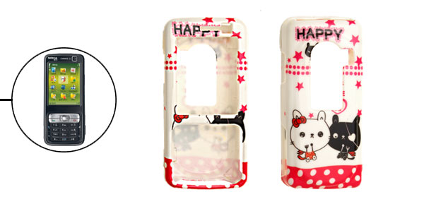 White Cartoon Kitty Plastic Hard Case for Nokia N73