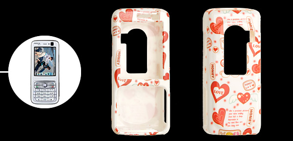 White and Red Color Love Heart Plastic Case for Nokia N73