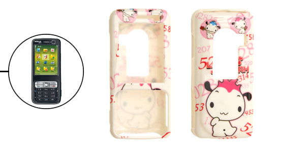White Cartoon Pattern Plastic Hard Case for Nokia N73