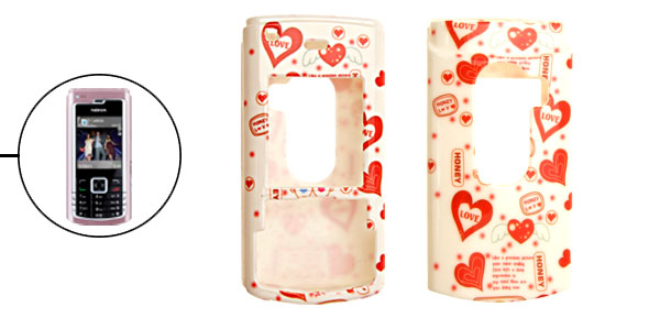 White Plastic Love Heart Pattern Case for Nokia N72