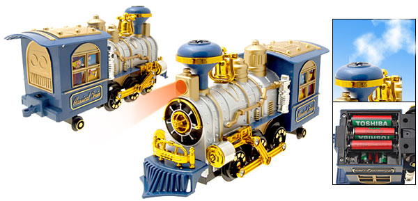 Classic Blue Electronic Train Locomotive Toy with Fragrance Puffing Smoke