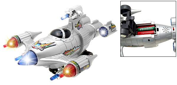Toy Shock Wave Silver Battle Plane Jet  with Flash Light