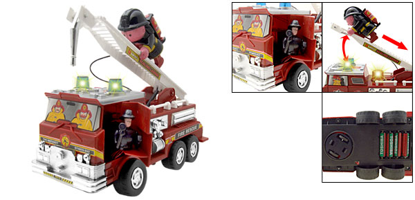 Fire Engine and Scaling Ladder Toy with Alarm Sound and Flash Light