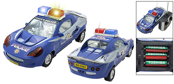 Super Blue Mini Police Patrol Remote Radio Control RC Toy Car