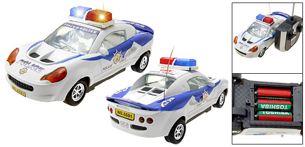 Mini White Super Remote Radio Control Police Patrol Toy Car
