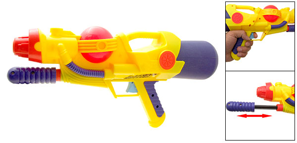 Yellow Plastic Hand Pump Pressure Water Game Gun for Kids