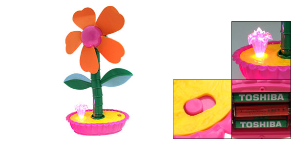 Mini Colorful Flash LED Light Orange Sunflower Cooling Fan