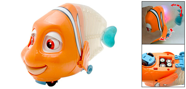Colorful Flash Light Funny Singing Orange Toy Clown  Fish