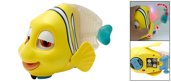 Funny Singing Yellow Clown Fish Toy with Colorful Flash Light