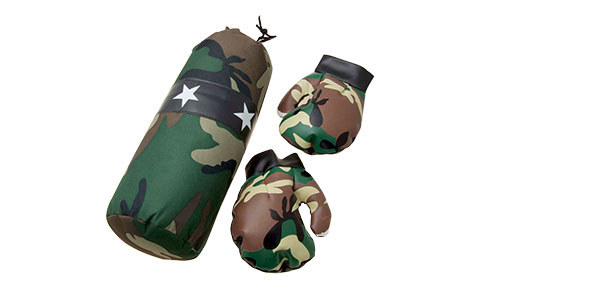 Camouflage Army Game Boxing Punching Bag with Leather Boxing Gloves
