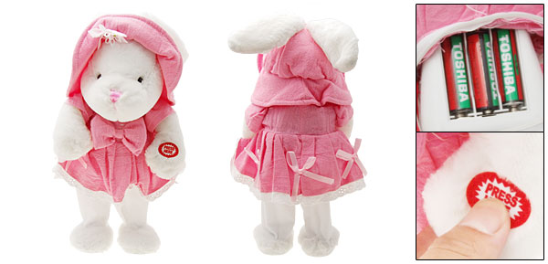 Cute Pink Fur Electric Funny Singing Dancing Dressing Rabbit Doll Toy
