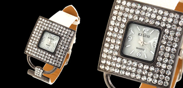 Versailles Fashion Jewelry Square Dial Ladies Rhinestone Watch