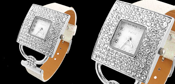 Versailles Fashion Jewelry Flash White Band Square Dial Ladies Rhinestone Watch