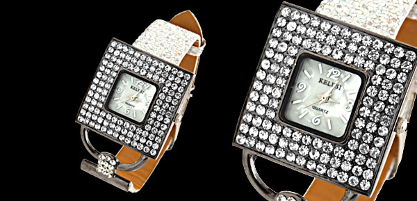 Versailles Fashion Jewelry Flash Band Black Square Dial Ladies Rhinestone Watch