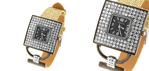 Versailles Fashion Jewelry Golden Band Square Dial Ladies Rhinestone Watch