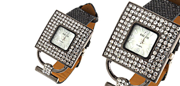Versailles Fashion Jewelry Black Leather Band Ladies Rhinestone Watch