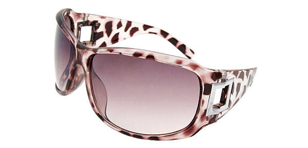 Lohan Transparent Purple Leopard Stripes Oversize Men Sunglasses