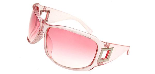 Lohan Transparent Frame Pink Lens Oversize Motorcycle Sunglasses