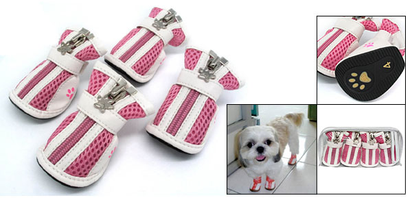 #4 Fashion Small Protective Paw Booties Pet Boots Dogshoes Pink