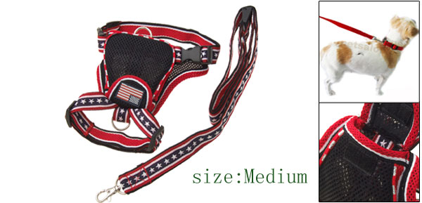 Black Pet Dog Backpack Carrier Harness with Leash Set Medium