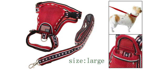 Red Large Dog Cat Backpack Carrier Harness with Leash Set