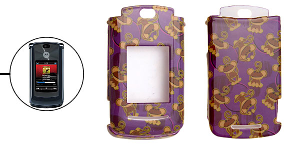 Purple Hard Plastic Protector Cover Case for Motorola V8 with Frog Pattern