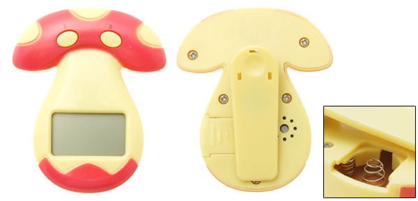 Novel Mini Pocket Clip Mushroom LCD Alarm Clock