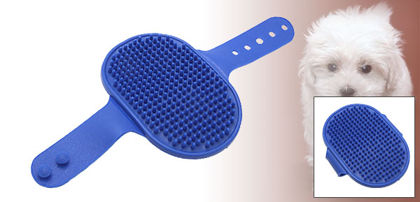 Blue Soft Rubber Cats Dogs Pet Bathing Brush
