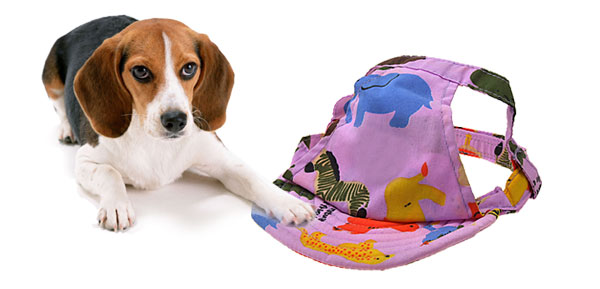 Cloth Purple Summer Sun Dog Cat Pet Hat Cap with Animal Patterned