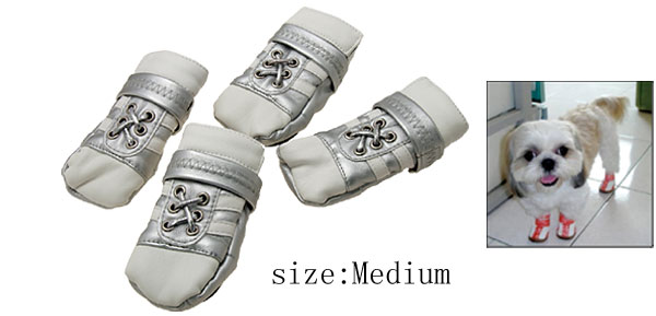 Medium Leather Protective Pet Boots Booties Dog Shoes Silver