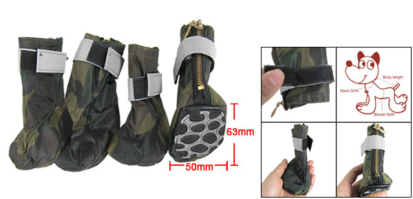 Army Camouflage Winter Protective Pet Boots Dog Shoes Medium