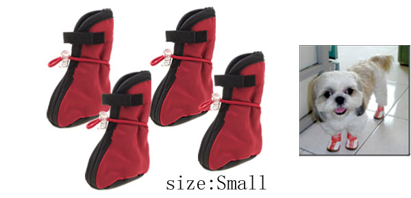 Red Winter Protective Boots Booties Dog Shoes Small
