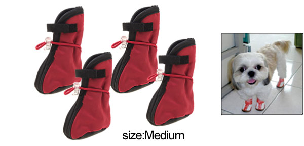 Winter Red Protective Pet Boots Booties Dog Shoes Medium
